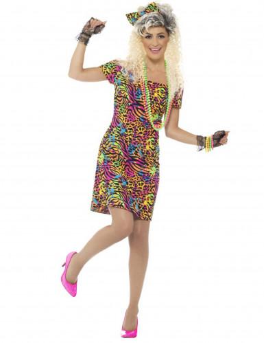 80-luvun värikäs leopardimekko naiselle-1