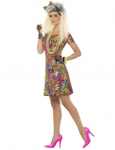 80-luvun värikäs leopardimekko naiselle-2