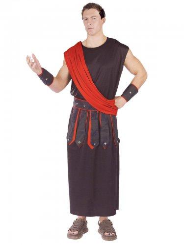 Antiikin roomalaisen miehen mustapunainen naamiaisasu