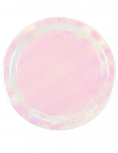 12 Vaaleanpunaista sateenkaarenhohtoista pahvilautasta 23 cm