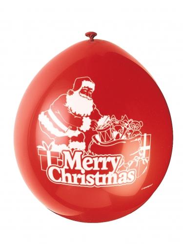 Punaiset lateksiset Merry Christmas™- ilmapallot 23 cm 10 kpl