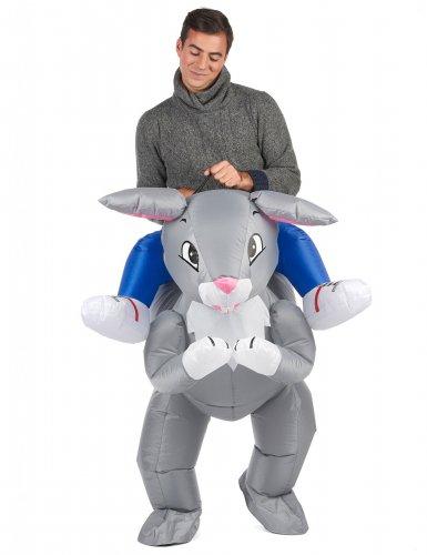 Jäniksen selässä Carry Me -naamiaispuku aikuisille-1