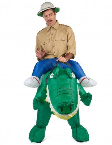Krokotiiliratsastaja Carry Me -naamiaisasu aikuisille-1
