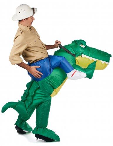 Krokotiiliratsastaja Carry Me -naamiaisasu aikuisille-2