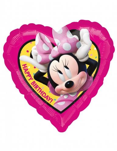 Alumiininen Happy Birthday Minnie™- sydämenmuotoinen ilmapallo 43 x 43 cm
