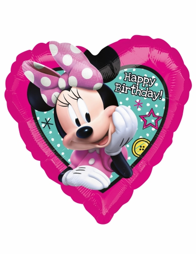 Alumiininen Happy Birthday Minnie™- sydämenmuotoinen ilmapallo 43 x 43 cm-1