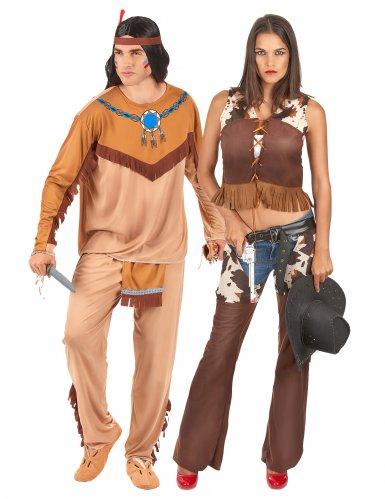Intiaani ja cowgirl- naamiaisasu aikuiselle