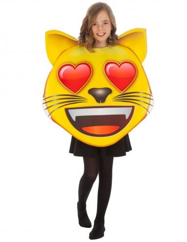 Sydänsilmäinen kissa Emoji™ naamiaisasu lapselle