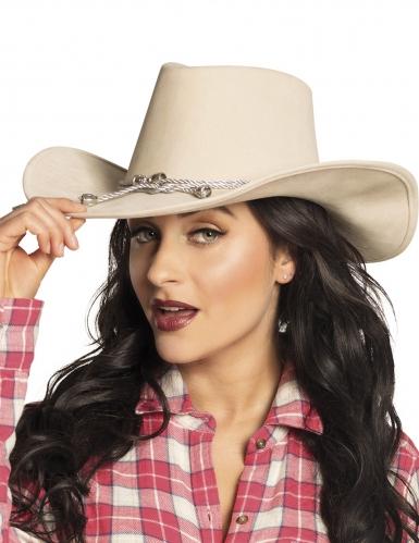 Beige cowboy-hattu aikuiselle