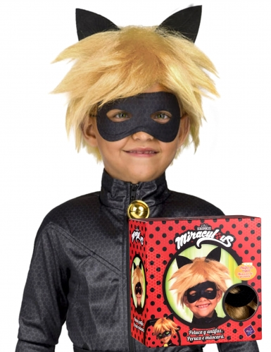 Cat Noir Miraculous™ peruukki ja naamari lapselle