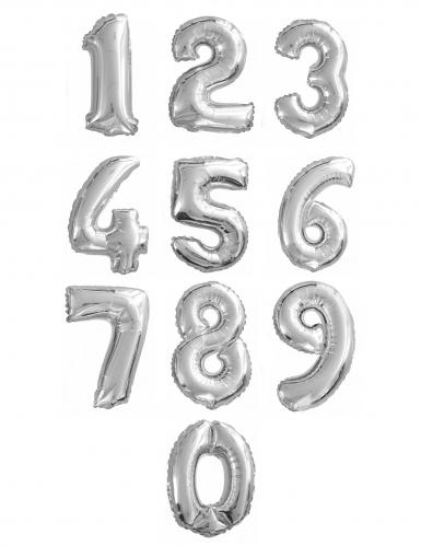 Hopeinen numeroilmapallo 35 cm-1