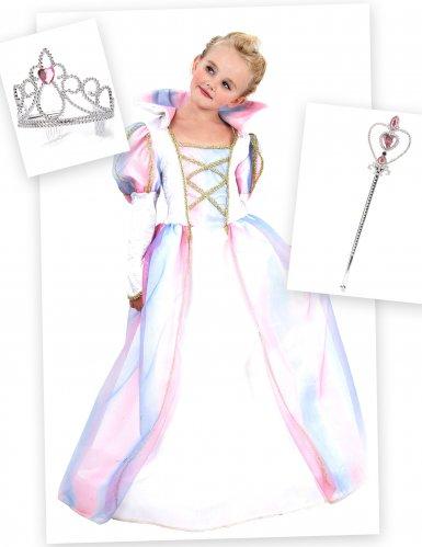 Prinsessan naamiaisasu, kruunu ja taikasauva tytölle