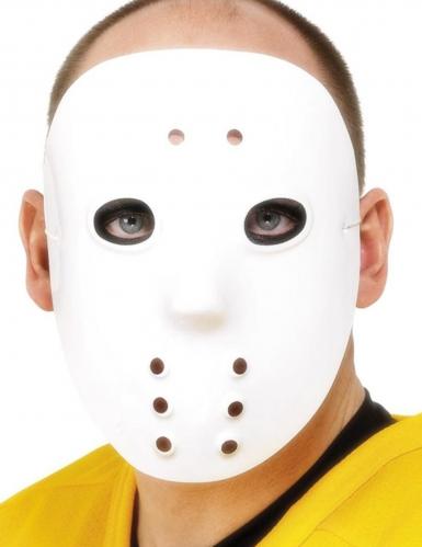 Jääkiekon pelaajan valkoinen naamari aikuiselle