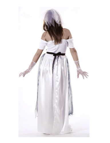 Kummitusmorsiammen mustavalkoinen naamiaisasu naiselle-1