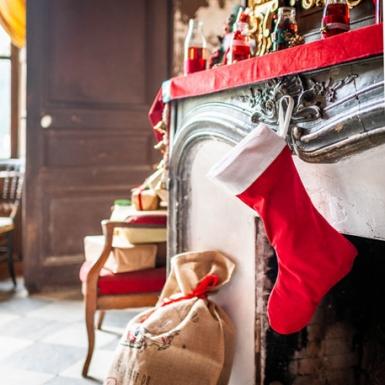 Joulupukin punavalkoinen sukka 29 x 48 cm-1