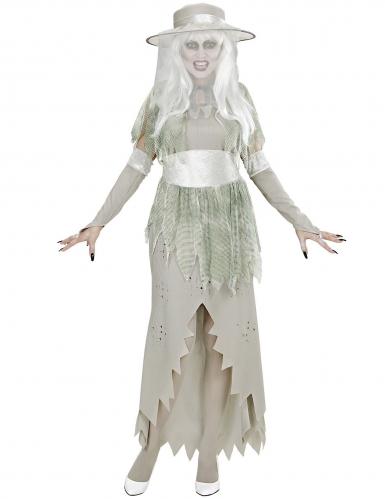 Valkoisen kummitusnaisen naamiaisasu naiselle-1