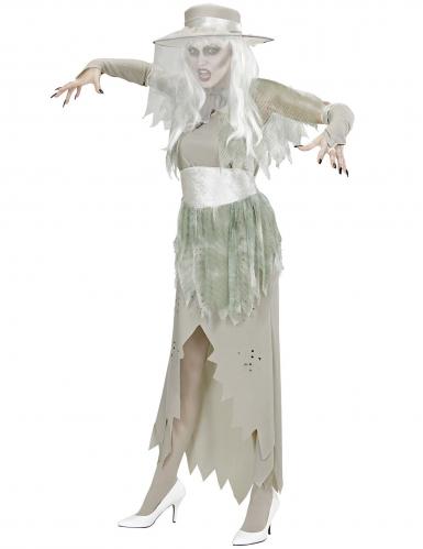 Valkoisen kummitusnaisen naamiaisasu naiselle-2