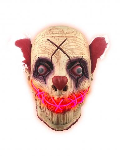 Klovnin punainen LED-naamari aikuiselle