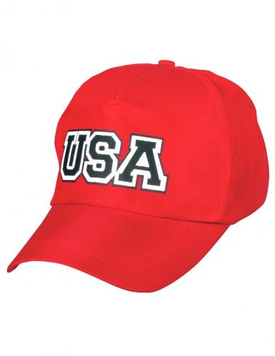 Punainen USA-lippalakki aikuiselle-1