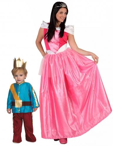 Prinsessa ja prinssi- pariasu äidille ja tyttärelle