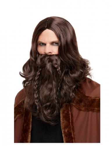 Viikingin ruskea parta ja peruukki aikuiselle