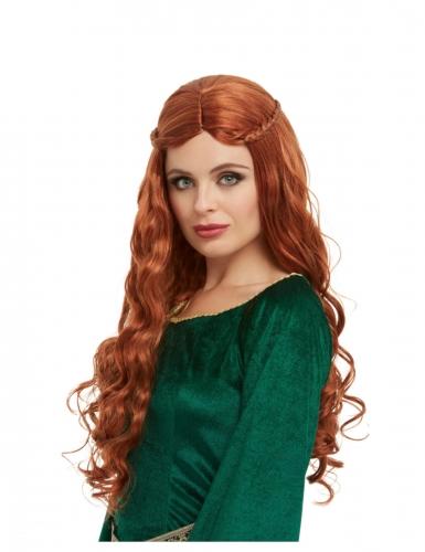 Punainen peruukki leteillä naiselle