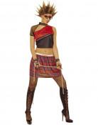 Punainen punk-tyylinen naamiaisasu naiselle