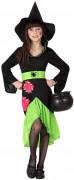 Halloweenin vihreä-musta noidan naamiaisasu tytölle