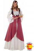 Vaaleanpunainen keskiaikainen mekko naisille