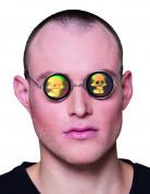 Pyöreät silmälasit pääkallon hologrammikuviolla