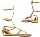 Naisten kullanhohtoiset sandaalit