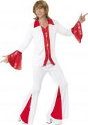 Puna-valkoinen discomiehen naamiaisasu