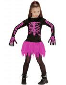 Vaaleanpuna-musta luurankoasu lapselle halloweeniin
