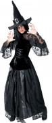 Naisten pitsinen musta noita Halloween-asu