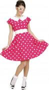 Vaaleanpunainen 50-luvun mekko naiselle