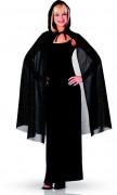 Naisten paljettikoristeltu musta viitta 115 cm - Halloween