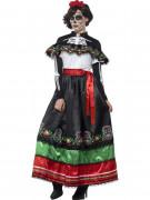 Naisten pitkä meksikolaismekko kuolleiden päivän tyyliin
