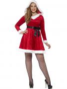 Punainen joulumekko mustalla rusettivyöllä