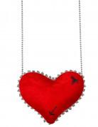 Sydämenmuotoinen punainen käsilaukku