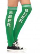 Aikuisten pitkät vihreät sukat Beer-tekstillä
